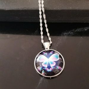 Jewelry - 925 SILVER COLORFUL BUTTERFLY CACHABON NECKLACE